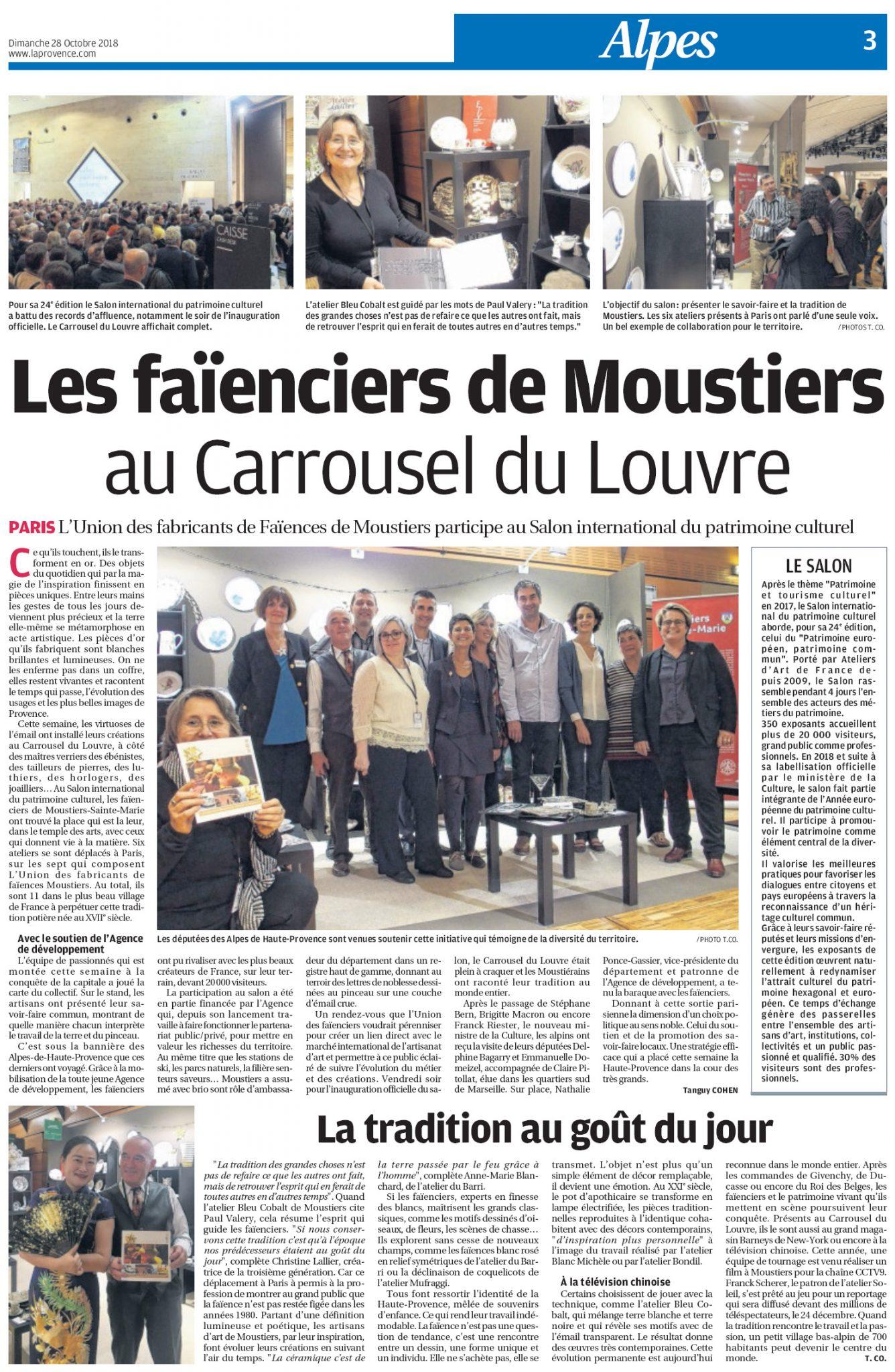 Les faïenciers de Moustiers au Carrousel du Louvre article de La Provence 28-10-2018